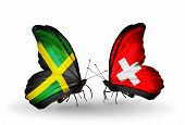 Two Butterflies With Flags On Wings As Symbol Of Relations Jamaica And Switzerland