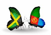 Two Butterflies With Flags On Wings As Symbol Of Relations Jamaica And Eritrea