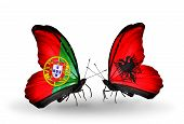 Two Butterflies With Flags On Wings As Symbol Of Relations Portugal And Albania