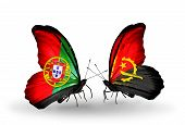 Two Butterflies With Flags On Wings As Symbol Of Relations Portugal And Angola