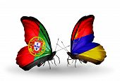 Two Butterflies With Flags On Wings As Symbol Of Relations Portugal And Armenia