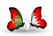 Two Butterflies With Flags On Wings As Symbol Of Relations Portugal And Bahrain