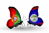 Two Butterflies With Flags On Wings As Symbol Of Relations Portugal And Belize