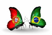 Two Butterflies With Flags On Wings As Symbol Of Relations Portugal And Brazil