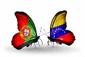 Two Butterflies With Flags On Wings As Symbol Of Relations Portugal And Venezuela