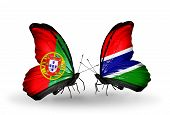 Two Butterflies With Flags On Wings As Symbol Of Relations Portugal And Gambia