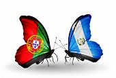 Two Butterflies With Flags On Wings As Symbol Of Relations Portugal And Guatemala