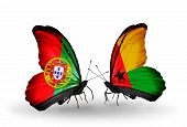 Two Butterflies With Flags On Wings As Symbol Of Relations Portugal And Guinea Bissau