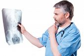 Doctor Examining X-ray Image.