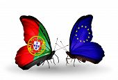 Two Butterflies With Flags On Wings As Symbol Of Relations Portugal And European Union