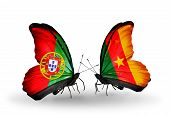 Two Butterflies With Flags On Wings As Symbol Of Relations Portugal And Cameroon
