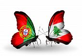 Two Butterflies With Flags On Wings As Symbol Of Relations Portugal And Lebanon