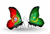Two Butterflies With Flags On Wings As Symbol Of Relations Portugal And Mauritania