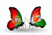 Two Butterflies With Flags On Wings As Symbol Of Relations Portugal And Niger