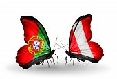 Two Butterflies With Flags On Wings As Symbol Of Relations Portugal And Peru