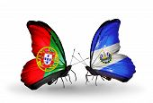 Two Butterflies With Flags On Wings As Symbol Of Relations Portugal And Salvador