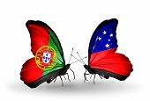 Two Butterflies With Flags On Wings As Symbol Of Relations Portugal And Samoa