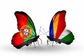 Two Butterflies With Flags On Wings As Symbol Of Relations Portugal And Seychelles