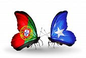 Two Butterflies With Flags On Wings As Symbol Of Relations Portugal And Somalia