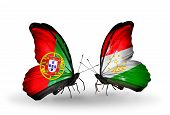 Two Butterflies With Flags On Wings As Symbol Of Relations Portugal And Tajikistan