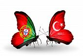 Two Butterflies With Flags On Wings As Symbol Of Relations Portugal And Turkey