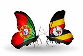Two Butterflies With Flags On Wings As Symbol Of Relations Portugal And Uganda