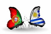 Two Butterflies With Flags On Wings As Symbol Of Relations Portugal And Uruguay