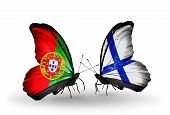 Two Butterflies With Flags On Wings As Symbol Of Relations Portugal And Finland