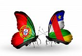 Two Butterflies With Flags On Wings As Symbol Of Relations Portugal And Car