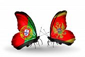 Two Butterflies With Flags On Wings As Symbol Of Relations Portugal And Montenegro