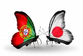 Two Butterflies With Flags On Wings As Symbol Of Relations Portugal And  Japan