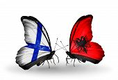 Two Butterflies With Flags On Wings As Symbol Of Relations Finland And Albania