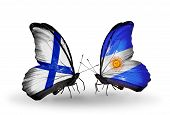 Two Butterflies With Flags On Wings As Symbol Of Relations Finland And Argentina