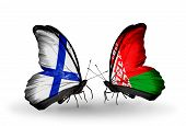 Two Butterflies With Flags On Wings As Symbol Of Relations Finland And  Belarus