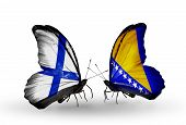 Two Butterflies With Flags On Wings As Symbol Of Relations Finland And  Bosnia And Herzegovina