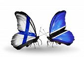 Two Butterflies With Flags On Wings As Symbol Of Relations Finland And  Botswana