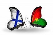 Two Butterflies With Flags On Wings As Symbol Of Relations Finland And  Burkina Faso