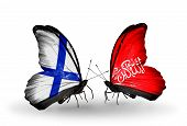 Two Butterflies With Flags On Wings As Symbol Of Relations Finland And  Waziristan