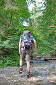 Slovakian Paradise, Slovakia - July 05: Unknown Hiker In Slovakian Paradise National Park In Slovaki