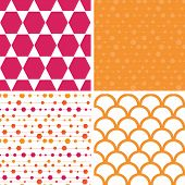Vector abstract colorful stripes and shapes set of four marching repeating patterns