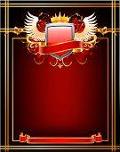 Red ornate frame.