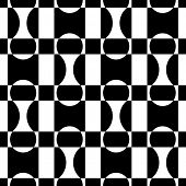Seamless Circle and Square Pattern. Abstract Black and White Background. Vector Regular Texture