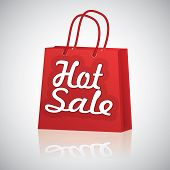 Realistic Red Shopping Bag Rope Handles, Text Hot Sale With Raflaction On Grey Glossy Background