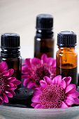 stock photo of essential oil  - a vertical image of three essential oils and flowers in a dish - JPG