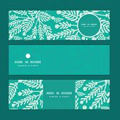 Vector emerald green plants horizontal banners set pattern background