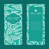 Vector emerald green plants vertical frame pattern invitation greeting cards set