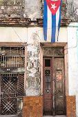 Cuban Flag in Shabby House