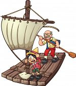 Marionette on a raft. Vector clip art illustration with simple gradients.Each element on a separate layer.