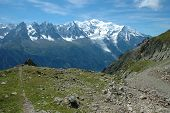 Trail And Mount Blanc Mountain Nearby Chamonix In France