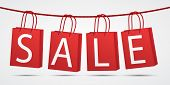 Realistic Red Shopping Bags Hanging On Rope With Text Sale On Grey Background